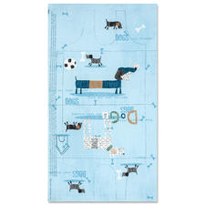 Stoff-Coupon - Tasche Dogs, Blau Stoff-Coupon - Tasche Dogs.
