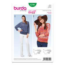 Burda Schnitt 6590 - Shirt Kimono-Ärmel.