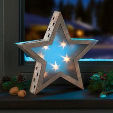 Holzstern mit Hologrammfolie und LEDs Stimmungsvolles Sternenlicht, das jeden Raum verzaubert