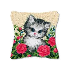"Knüpfkissen ""Katze im Garten"""