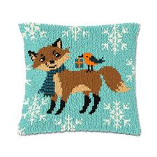 """Knüpfkissen """"Fuchs im Schnee"""""""