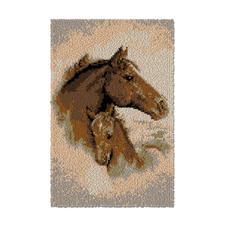 """Wandbehang """"Pferd mit Fohlen"""" Wandbehänge aus Reiner Schurwolle."""
