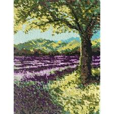 "Wandbehang ""Lavendel"" Wandbehang - auf knotengenau vorgemaltem Grundstoff."