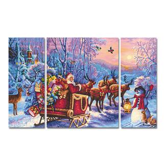 Malen nach Zahlen Triptychon - Der Weihnachtsmann kommt