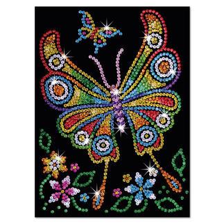 Paillettenbild für Kinder - Schmetterling Glitzernde Paillettenbilder – ganz einfach gesteckt