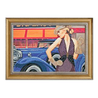 Bead-Art-Bild - Retro-Lady Bead Art – Bilder mit edlem Perlen-Effekt.