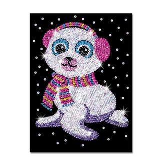 Paillettenbild für Kinder - Seehund Suzy Glitzernde Paillettenbilder – ganz einfach gesteckt