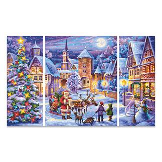 """Triptychon - Weiße Weihnacht Malen nach Zahlen """"Triptychon Weiße Weihnacht"""""""