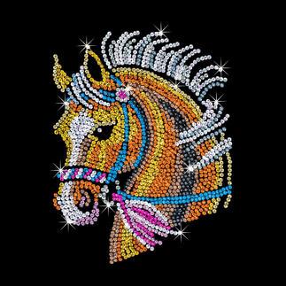 Paillettenbild für Erwachsene - Pferd Glitzernde Paillettenbilder – ganz einfach gesteckt.