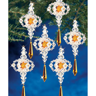 6 Viktorianische Tropfen im Set, Ø 10 cm Glamouröser Perlen-Weihnachtsschmuck – in Komplettpackungen zum kreativen Selbermachen.