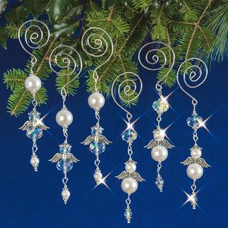6 Baumelnde Engel im Set, 11 cm Weihnachtsschmuck aus echten Kristall- und glänzenden Glasperlen