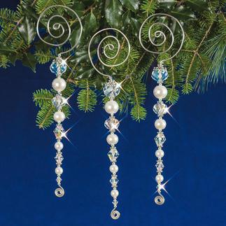 3 Eiszapfen im Set, 13 cm Weihnachtsschmuck aus echten Kristall- und glänzenden Glasperlen