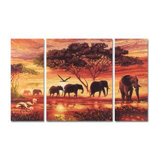 Malen nach Zahlen - Triptychon Elefanten Karawane Malen nach Zahlen.