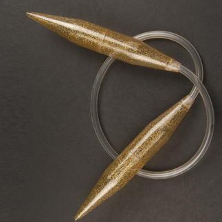 addi Rundstricknadeln mit Gold-Glitter, 100 cm, Ø 20 mm