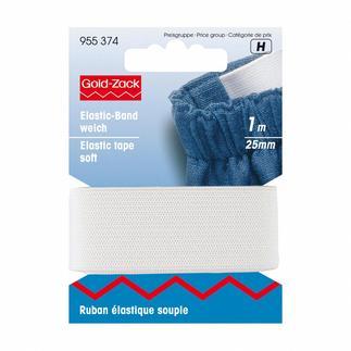 Elastikband weich, 25 mm breit, Weiß