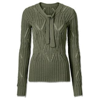 Anleitung 060/6, Ajourmuster Pullover mit Schleife aus Merino-Cotton von Junghans-Wolle