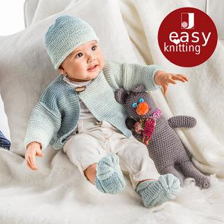 Anleitung 108/6, Jacke, Mütze und Schühchen aus Pinta von Junghans-Wolle