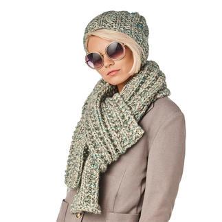 Anleitung 123/8, Schal mit Mütze 3-fädig aus Alpaca-Cotton von Junghans-Wolle