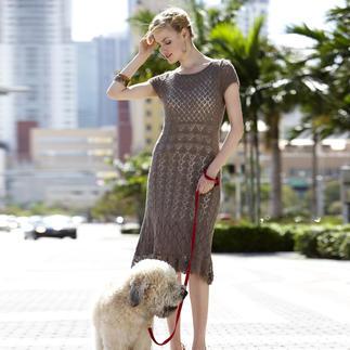 Anleitung 407/3, Damenkleid mit angehäkelter Bordüre aus Seidana® von Junghans-Wolle