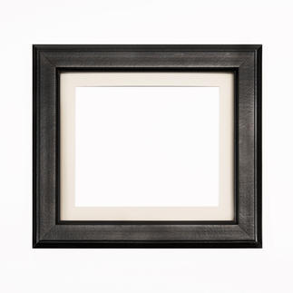 Bilderrahmen, Schwarz mit Passepartout, Ausschnitt 15 x 18 cm Bilderrahmen, Schwarz mit grauem Passepartout