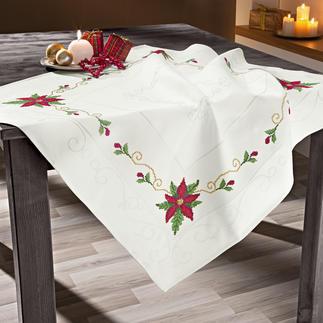 Jacquard-Damast-Tischdecke - Weihnachtsstern Jacquard-Damast-Tischdecke Weihnachtsstern.