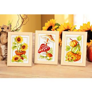 3 Miniaturen - Bunter Herbst, mit Holzrahmen