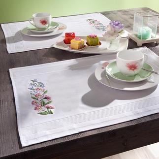 Tischwäsche mit eingewebtem Zierrand - Glockenblumen