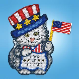 Wandbild - Katze mit Flagge