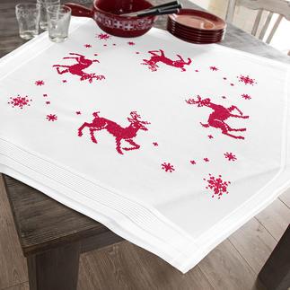 Tischwäsche mit eingewebtem Zierrand - Rentier