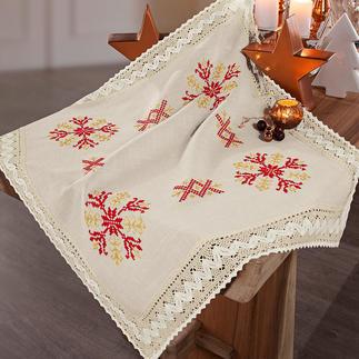 Tischwäsche oder Kissen mit Makramee-Spitze Stickideen zur Weihnachtszeit.