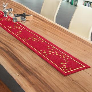 Tischband oder -decke - Weihnachtsmotive Edle Stickereien auf farbiger Tischwäsche.