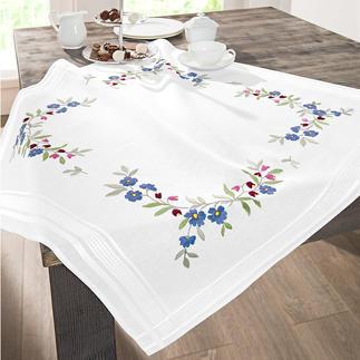 Tischwäsche mit eingewebtem Zierrand - Blaue Blümchen