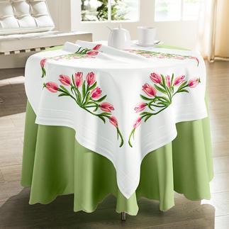 Tischdecke mit eingewebtem Zierrand - Rosa Tulpen