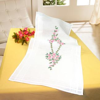 Tischläufer mit eingewebtem Zierrand - Blumenbouquet