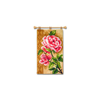 Wandbehang - Rose Farbenfrohe Wohnraumdeko – im einfachen Kreuzstich schnell gestickt.