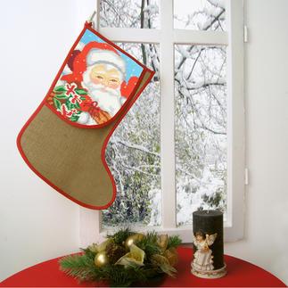 Jute-Nikolausstiefel Traditionsreiche Weihnachts-Stickerei.