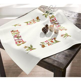 Aida-Tischdecke - Frohes Fest Traditionsreiche Weihnachts-Stickerei.
