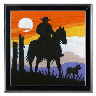 Longstichbild - Cowboy Longstich – kinderleicht und schnell gestickt.