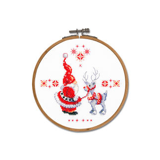 Stickbild - Wichtel & Rentier, mit Holzrahmen Weihnachtszeit ist Wichtelzeit.