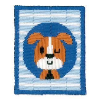 Stickbild - Zwinkernder Hund Stickspaß für Kinder