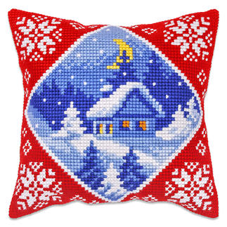 Kreuzstichkissen - Hütte im Winter