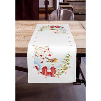 Aida-Tischläufer - Rotkehlchen Stickideen für die kalte Winterzeit