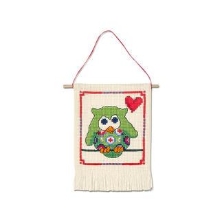 Wandbehang - Grüne Eule My first Kit – Sticken für die ganz kleinen Einsteiger.