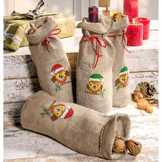 4 Jute-Säckchen für Geschenke im Set.