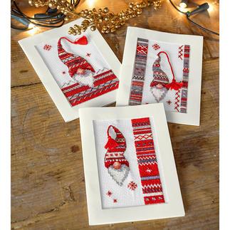 Grußkarten-Set - Weihnachts-Wichtel 3 Weihnachtskarten mit Umschlägen im Set.