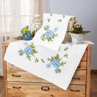 Tischwäsche mit eingewebtem Zierrand - Blaue Rosen
