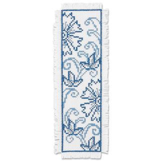 Lesezeichen - Blaue Blumen Stickereien in Blau-Weiß – luftig frisch und dennoch zeitlos klassisch.