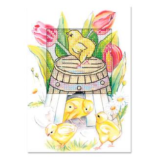 Grußkarten mit Umschlägen - Osterzeit Farbenfrohe Stickideen zur Osterzeit.