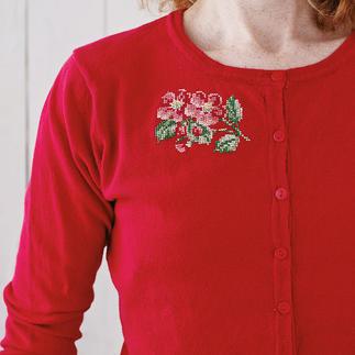 Stickmotiv - Rote Blumen Sticken, waschen, tragen – für alle Individualisten.