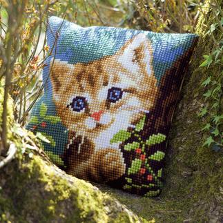 Kreuzstichkissen - Katze Minki